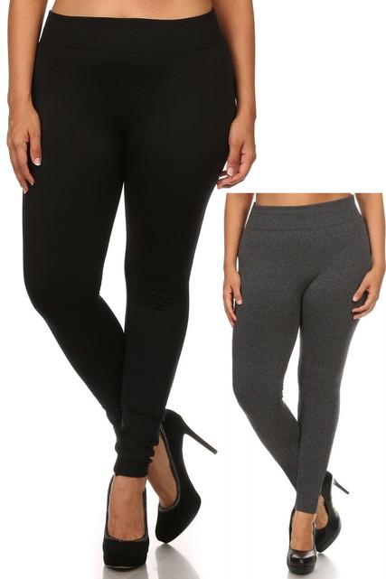 Women's Fleece Lined Plus Size Leggings - Black Charcoal - 2 Pack