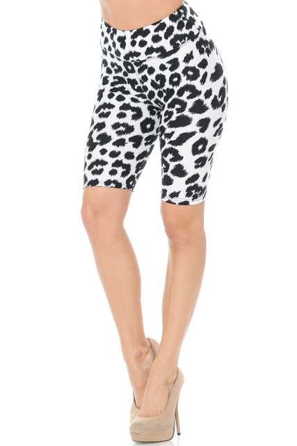 Brushed Ivory Spotted Leopard Shorts - 3 Inch Waist Band