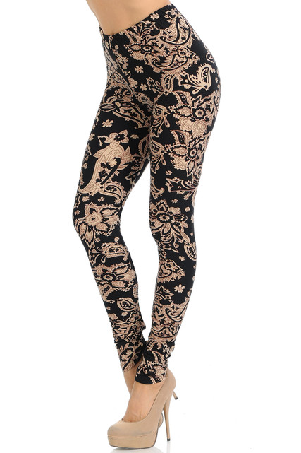 Brushed Sand Pepper Paisley Extra Plus Size Leggings - 3X-5X