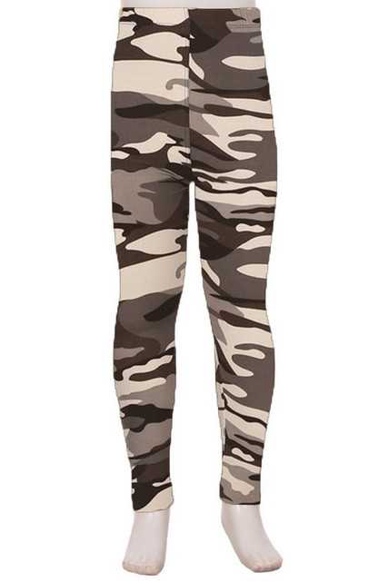 Brushed Charcoal Camouflage Kids Leggings - EEVEE