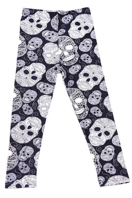 Brushed Black and White Sugar Skull Kids Leggings