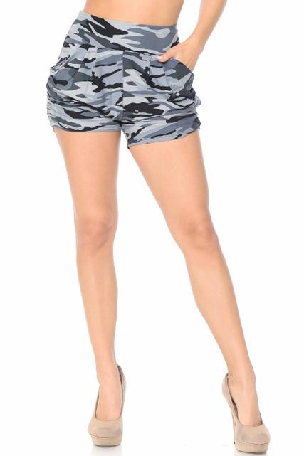 Brushed Monochrome Camouflage Harem Shorts