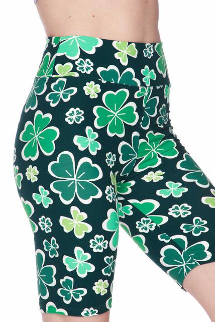 Brushed Green Irish Clover Shorts - 3 Inch