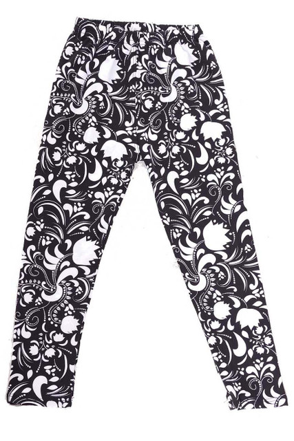 Brushed Monochrome Spring Floral Kids Leggings