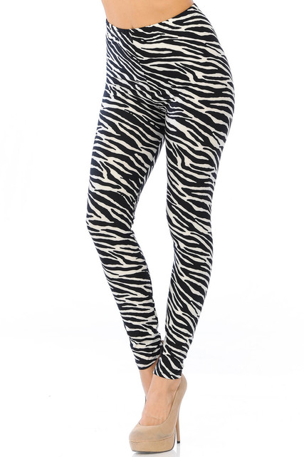 Brushed Zebra Extra Plus Size Leggings - 3X-5X