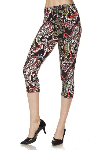 Brushed  Raspberry Paisley Plus Size Capris