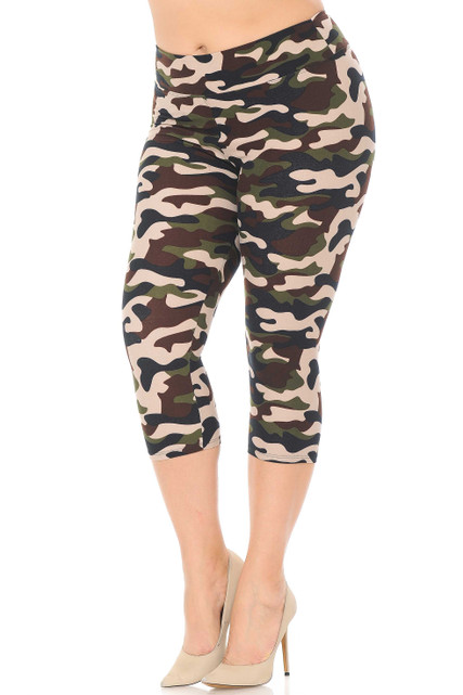 Brushed  Flirty Camouflage High Waist Plus Size Capris - 3  Inch