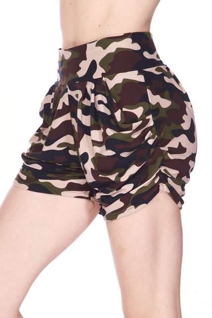Buttery Soft Flirty Camouflage Plus Size Harem Shorts