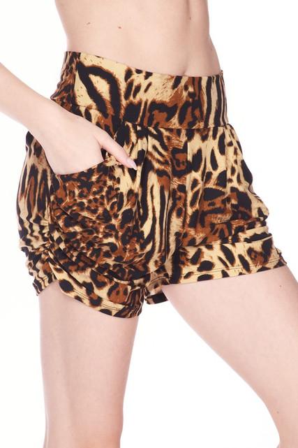Buttery Soft Predator Leopard Harem Shorts