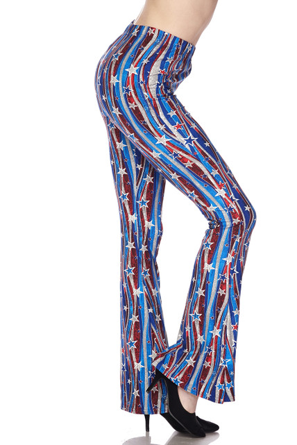 Buttery Soft Metallic USA Flag Bell Bottom Leggings