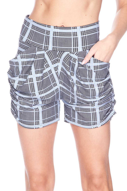 Buttery Soft Baby Blue Glen Plaid Harem Plus Size Shorts