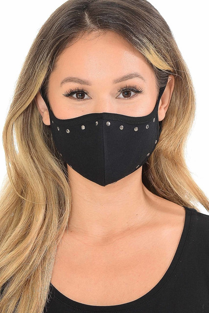 Cotton Studded Outline Face Mask