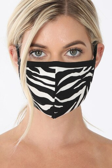 Zebra Print Face Mask - Imported