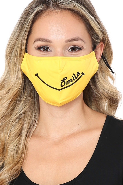 Front Bright Yellow Smile Face Mask with Built In Filter and Nose Bar
