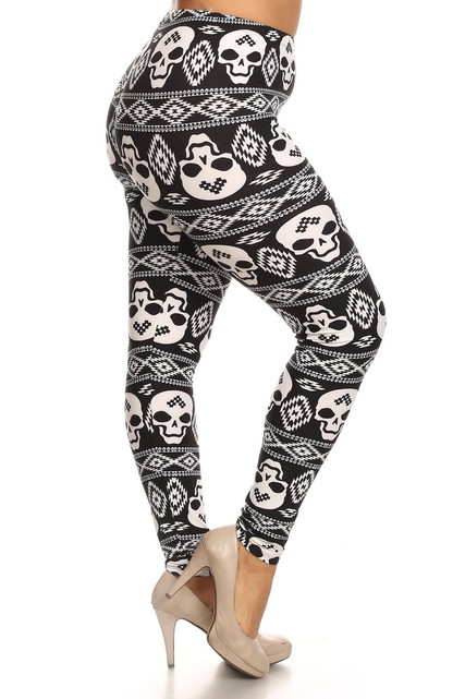 Right side leg image of Buttery Soft Plus Size Tribal Skull Leggings