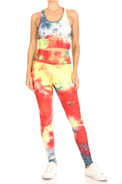 Multi-Color Tie Dye Scrunch Butt Top and Leggings Set