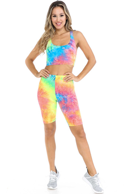 Neon Tie Dye 2 Piece Shorts and Cropped Bra Top Set