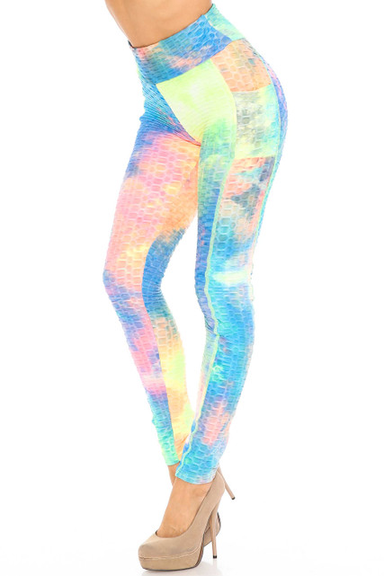 Premium Neon Tie Dye Scrunch Butt Workout Leggings with Side Pockets