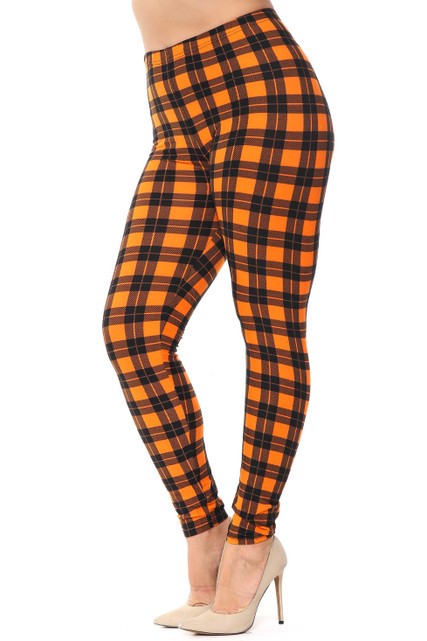 Buttery Soft Pumpkin Plaid Plus Size Leggings