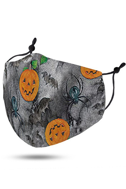 Pumpkins Bats and Spiders Halloween Kids Face Mask