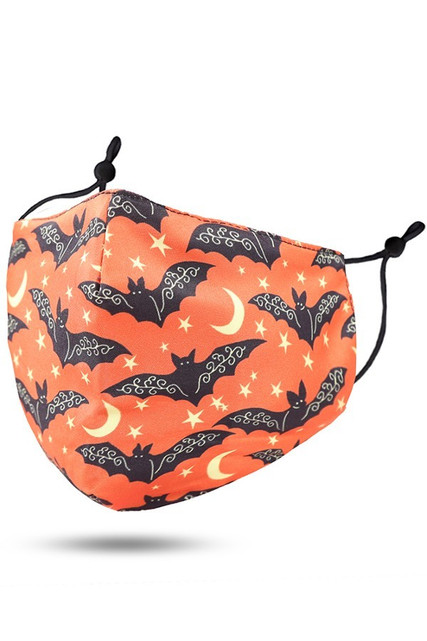 Orange Bats Halloween Face Mask