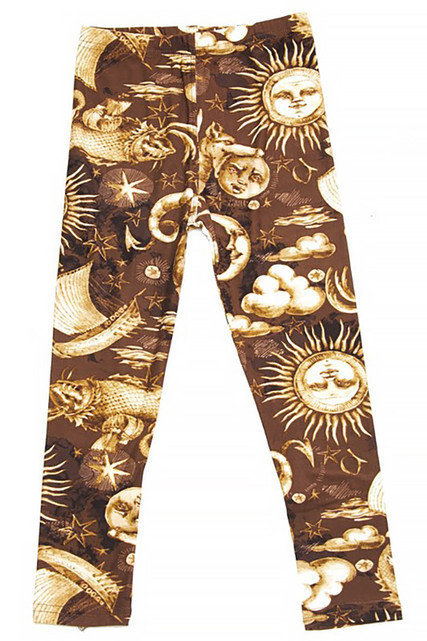 Buttery Soft Sun Moon Stars Steampunk Kids Leggings
