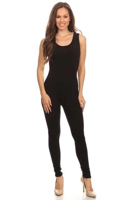 Front side image of  USA Cotton Basic Tank Plus Size Jumpsuit