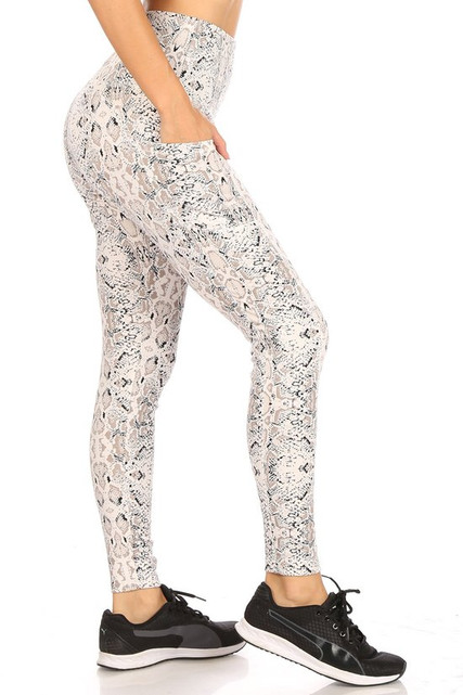High Waisted Cream Snakeskin Sports Leggings with Side Pockets