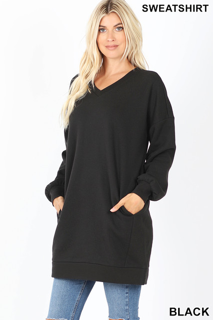 Front image of Black Oversized V-Neck Longline Sweatshirt with Pockets
