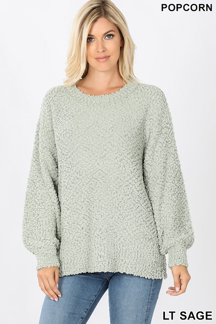 Front image of Sage Popcorn Balloon Sleeve Round Neck Pullover Sweater
