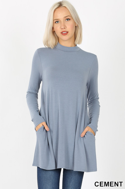 Front image of Cement Long Sleeve Mock Neck Top with Pockets