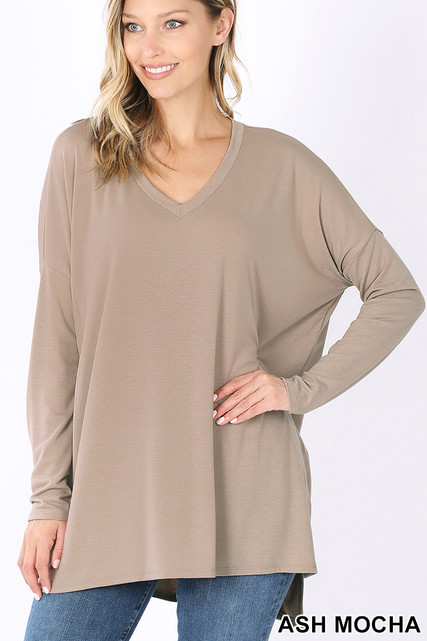 Front image of Ash Mocha Dolman Long Sleeve V-Neck Side Cut Hi-Low Hem Top