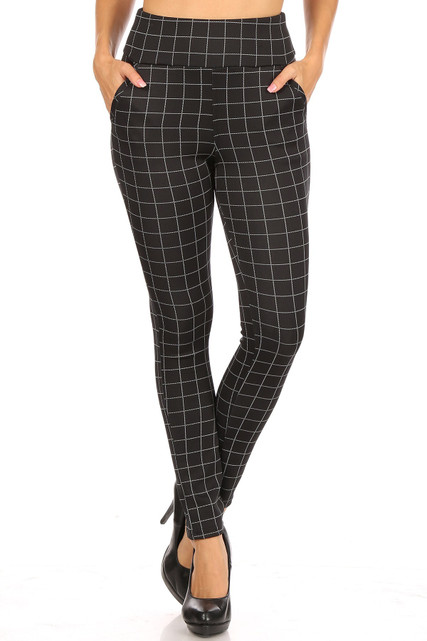 Black and White Grid Print High Waisted Body Sculpting Treggings with Pockets
