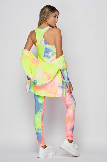 Ties Dye 3 Piece Scrunch Butt Leggings Tank Top and Hooded Jacket Set