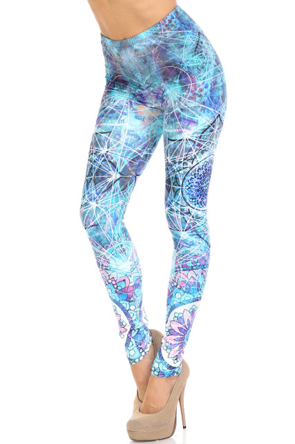 Creamy Soft Cyan Mandala Plus Size Leggings - USA Fashion™