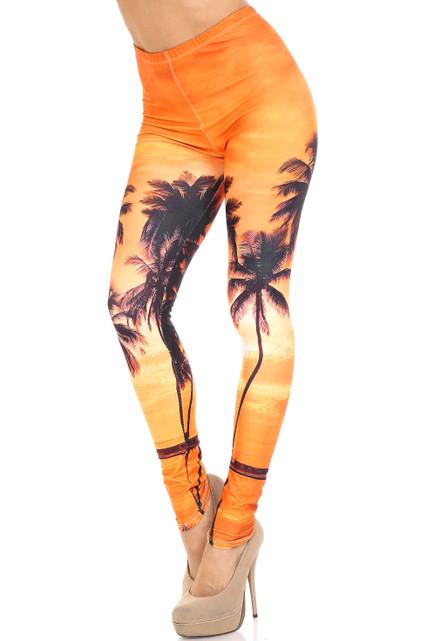 Creamy Soft Sunset Palm Extra Plus Size Leggings - 3X-5X - USA Fashion™