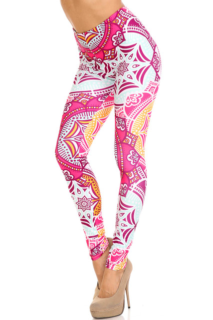Creamy Soft Crimson Aquamarine Mandala Leggings - USA Fashion™