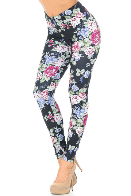 Creamy Soft Delightful Rose Plus Size Leggings - USA Fashion™