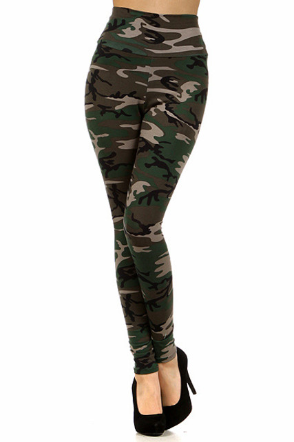 High Waisted Cotton Camouflage Leggings