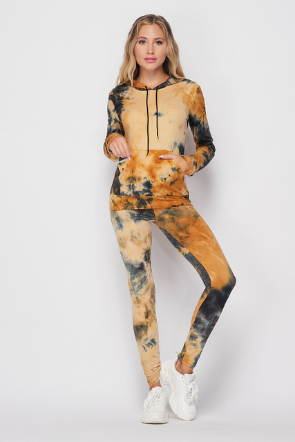 Front of Camel Tie Dye 2 Piece Leggings and Hooded Jacket Set