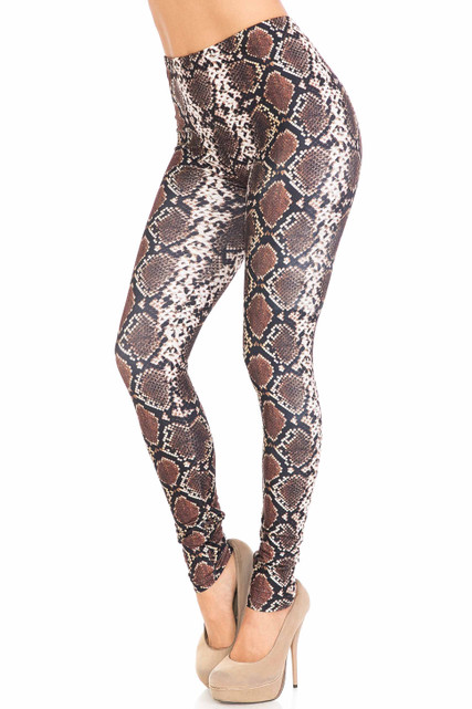 45 degree view of Creamy Soft Brown Boa Plus Size Leggings - USA Fashion™ with a cool edgy snakeskin look.