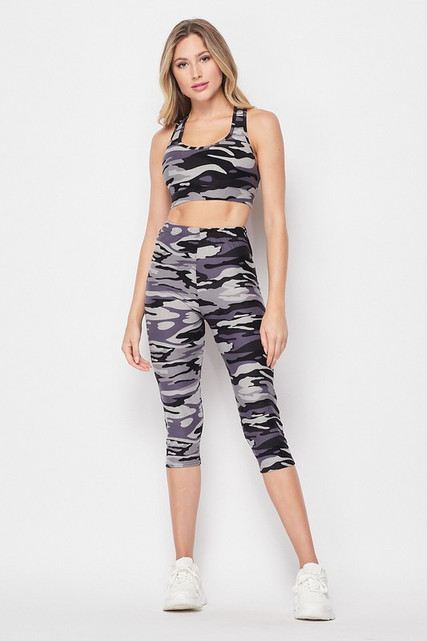 Front on view of 2 Piece Charcoal Camouflage Crop Top and Capris Set shown paired with simple white sneakers.