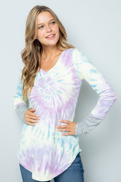 Lilac Tie Dye Contrast Cuff Long Sleeve Plus Size V Neck Top