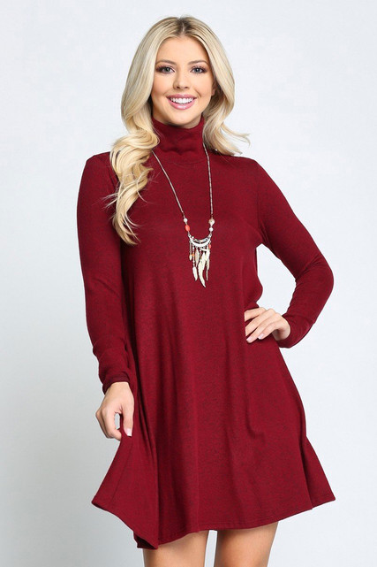 Burgundy Long Sleeve Hacci Knit Mock Neck Plus Size Swing Dress