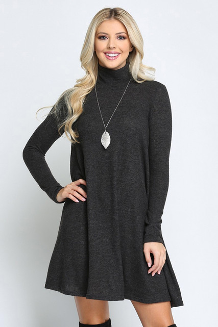 Charcoal Long Sleeve Hacci Knit Mock Neck Swing Dress