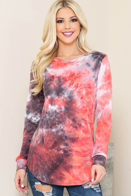 Raspberry Tie Dye Round Neck Long Sleeve Plus Size Top
