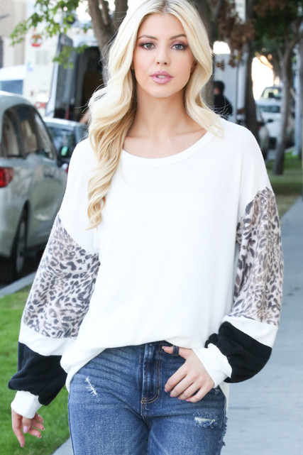 Ivory Leopard Contrast Dropped Shoulder Long Sleeve Top