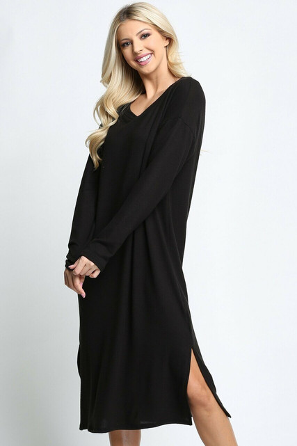 Black Long Sleeve Side Slit Midi Length Sweater Dress