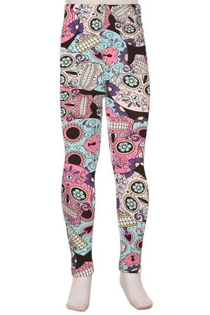 Buttery Soft Pastel Sugar Skull Kids Leggings