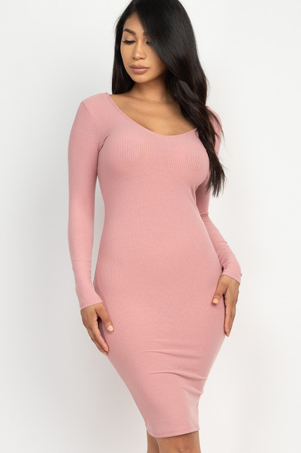 Long Sleeve Scoop Neck Rib Knit Bodycon Midi Dress